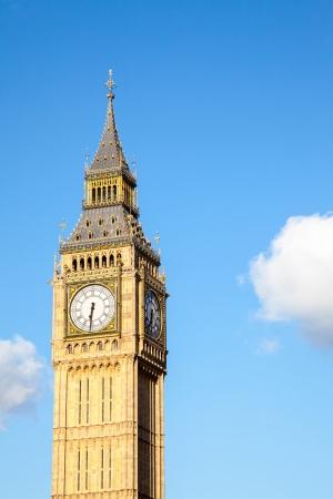 steeples: Close up of Big Ben Clock Tower Against Blue Sky England United Kingdom