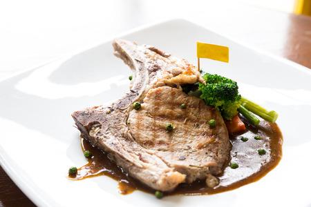 pork chop: Gourmet Main Entree Course grilled pork chop
