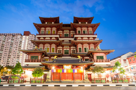relics: Architecture of Singapore buddha tooth relic temple at dusk