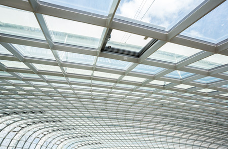 interior of office building with metal and glass roof photo