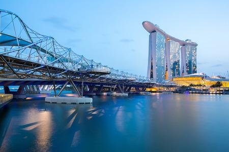 marina bay sand: Singapore Skyline Marina bay at dusk