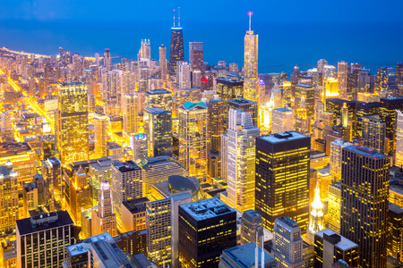 Aerial view of Chicago City downtown at dusk