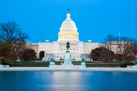 us government: US Capitol Building at dusk, Washington DC, USA Editorial