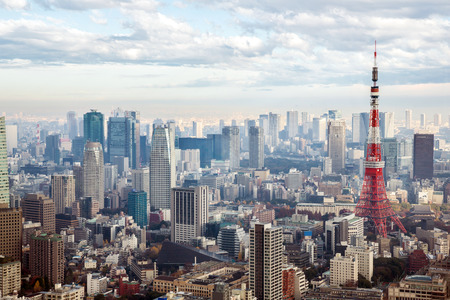 tokyo tower: Tokyo Tower with skyline in Japan Editorial