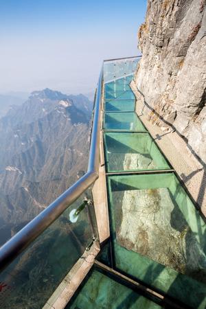 glass fence: Glass sky walk at Tianmenshan Tianmen Mountain China