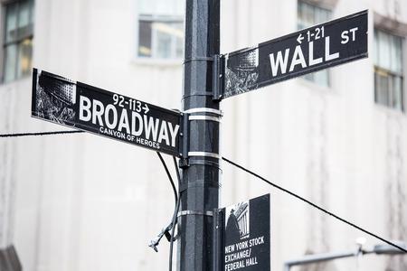 bolsa de valores: Wall Street y Broadway signo en Nueva York
