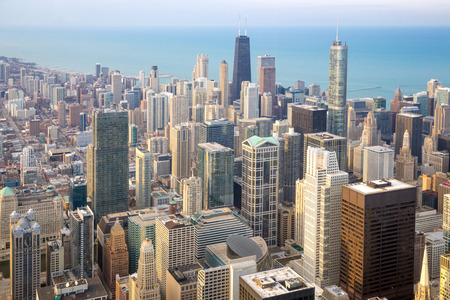 illinois river: Aerial view of Chicago City downtown