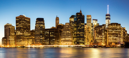 Panorama of New York City Manhattan skyline at dusk from Brooklyn photo