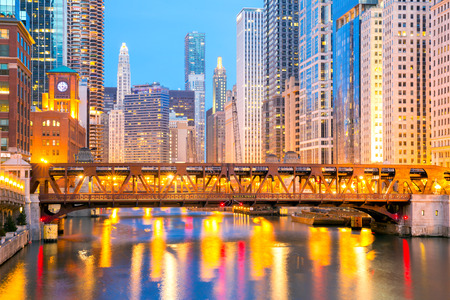 City of Chicago downtown and River with bridges at dusk  photo