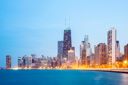 City of Chicago downtown and Lake Michigan at dusk  photo