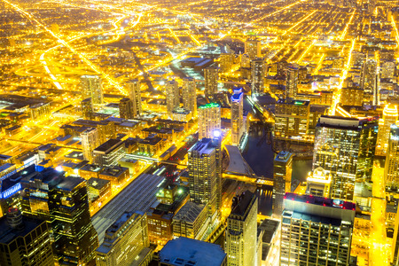 Aerial view of Chicago City downtown at night photo