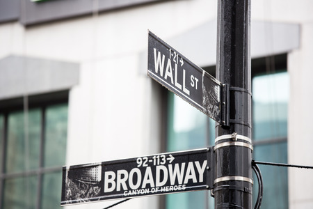 Wall street and broadway sign in New York photo