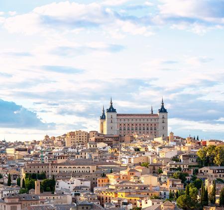 espanya: Toledo Cityscape with Alcazar in Madrid Spain Stock Photo
