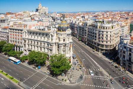 madrid: aerial view of Gran Via, main shopping street in Madrid, capital of Spain, Europe  Stock Photo