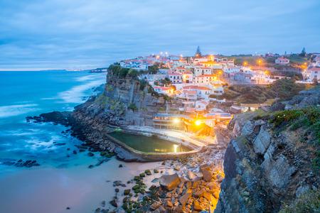 Azenhas do Mar village at dusk, Sintra Portugal Stock Photo