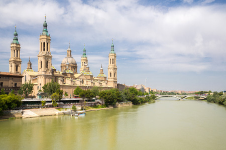 Our Lady of the Pillar Basilica with Ebro River Zaragoza, Spain photo