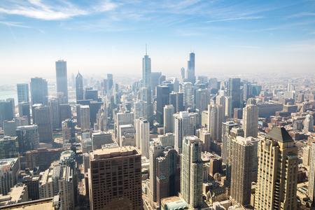 chicago skyline: Aerial view of Chicago city USA Stock Photo