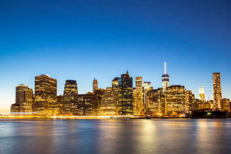 time square: New York City Manhattan skyline at dusk from Brooklyn