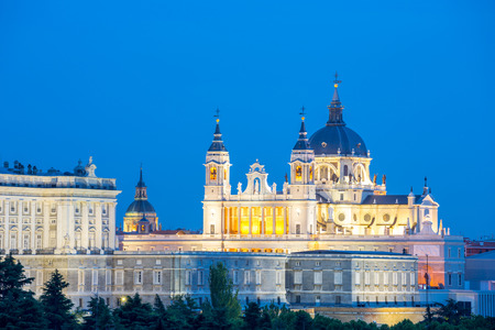 real madrid: Madrid, Almudena Cathedral and palace at dusk spain