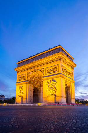 Arc of Triomphe Champs Elysees Paris city at sunset photo