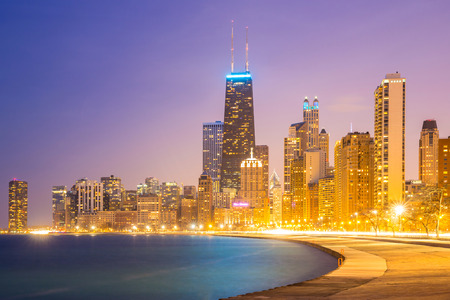 City of Chicago downtown and Lake Michigan at dusk