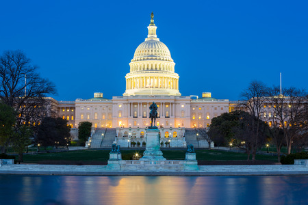 the capitol: US Capitol Building at dusk, Washington DC, USA Stock Photo