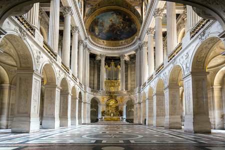 Great Hall Ballroom of chapel in Versaille Palace Paris France Editorial