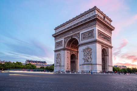 champs elysees: Arc of Triomphe Champs Elysees Paris city at sunset Editorial