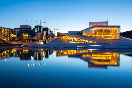 opera: Oslo Opera House shine at dusk, morning twilight,  Norway Editorial