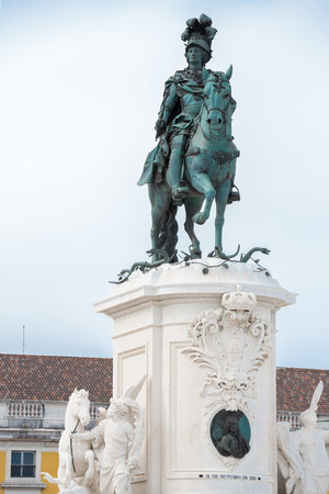 Statue of King Jose I at Praca do Comercio Commerce Square in Lisbon, Portugal