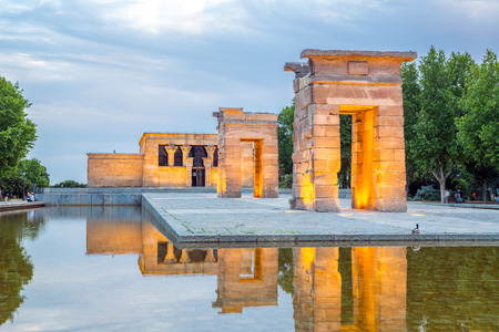 temple tower: Sunset over the Temple de debod in Madrid, Spain Stock Photo