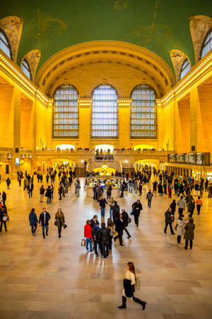 New York City- April 4  Interior of Grand Central Station on April 4, 2014 in New York City, NY  The terminal is the largest train station in the world by number of platforms having 44