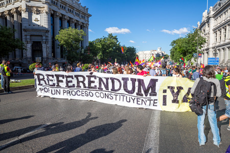 protesters: Madrid - JUN 7: Thousands of protesters have taken to the streets of Madrid to demand a referendum to abolish Spains monarchy on Jun 7, 2014 in Madrid, Spain.