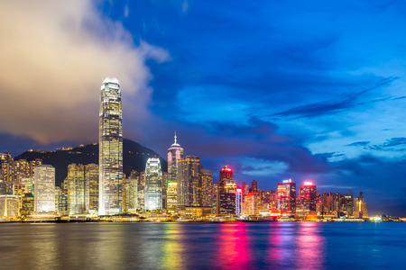 Hong Kong Skyline from Victoria Harbour at dusk photo