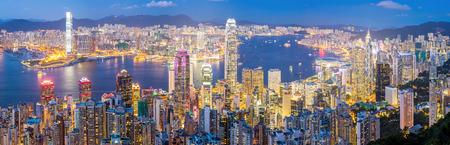 Panorama Hong Kong Skyline from Victoria Peak at dusk