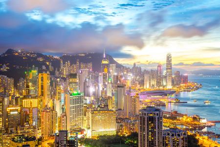 Sunset in Hong Kong city Skyline from braemar hill