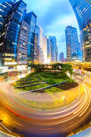 Hong Kong Central Skyline at dusk (Fish Eye Perspective) photo