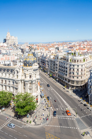 gran via: aerial view of Gran Via, main shopping street in Madrid, capital of Spain, Europe. Stock Photo