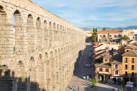 segovia: ancient aqueduct in Segovia Spain Stock Photo