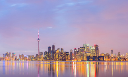 Panorama of Toronto Skyline at dusk, Ontario, Canada