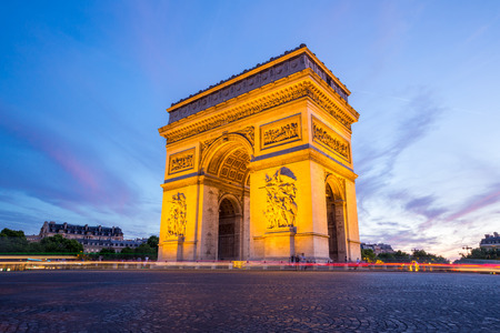 champs elysees: Arc of Triomphe Champs Elysees Paris city at sunset Stock Photo