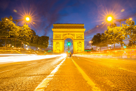 champs: Arc of Triomphe Champs Elysees Paris city at sunset Stock Photo