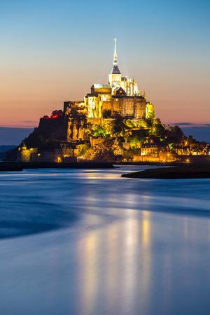 michel: Mont Saint Michele at dusk France Stock Photo