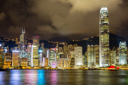 Hong Kong Skyline from Victoria Harbour at night photo