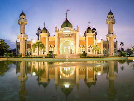 islamic scenery: Central mosque with reflection at dusk, Pattani, Thailand Stock Photo