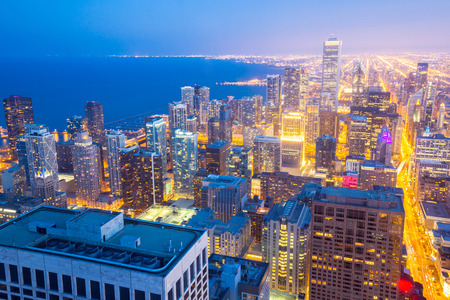 Aerial view of Chicago City downtown at dusk USA photo