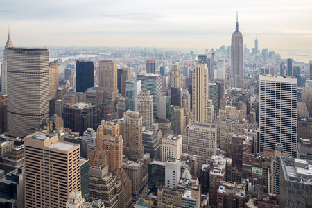New York City skyline with urban skyscrapers USA. Banque d'images