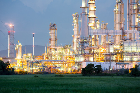 construction plant: Oil Refinery Plant at dusk