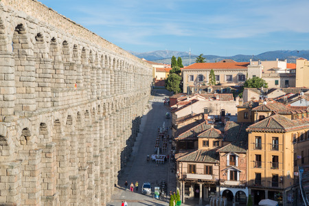 segovia: ancient aqueduct in Segovia Spain Editorial