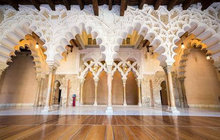 zaragoza: Corridor of aljaferia alcazar of Zaragoza Spain